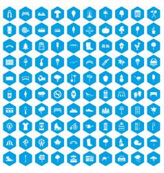 100 park icons set blue vector