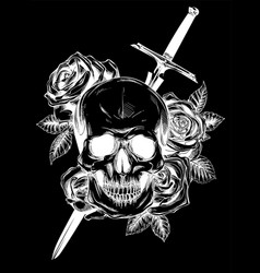 A human skull with roses on black background vector