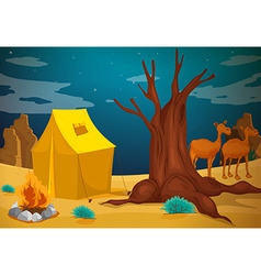 A tent with a camp fire vector image vector image