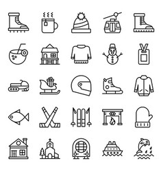 Adventure and hiking line icons pack vector