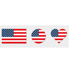 american flag in shape square heart vector image