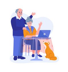 An elderly couple using a laptop vector