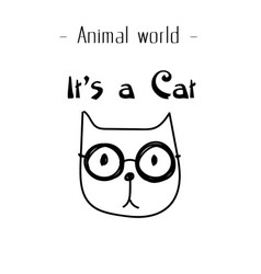 Animal world its a cat wear glasses background ve vector