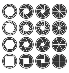 Aperture camera shutter focus icons set vector