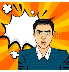 Attractive brunette surprised man vector image