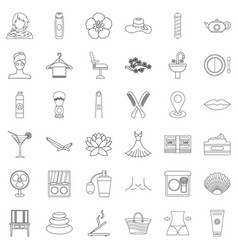 beauty salon icons set outline style vector image