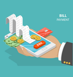 Bill payment flat isometric concept vector