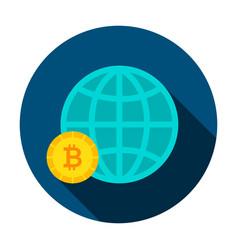 bitcoin global circle icon vector image