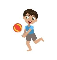 Boy Playing With The Ball vector