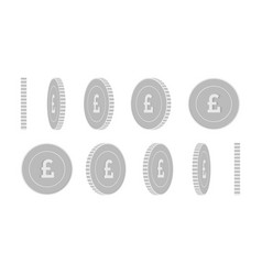 British pound rotating coins set animation ready vector