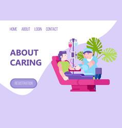 Caring web landing banner character nurse take vector