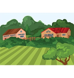 Cartoon village houses with green field and trees vector image