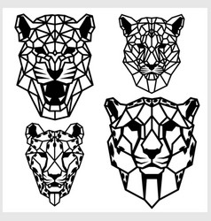 Cheetah and panter - animal heads icons vector