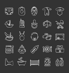 Childcare chalk icons set vector