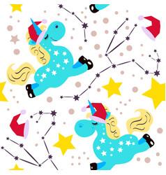 Chrismas blue unicorn pattern vector