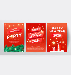 christmas party design template set with branch vector image