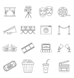 Cinema icons set outline style vector image