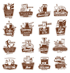 coffee cups pot and espresso machine with dessert vector image