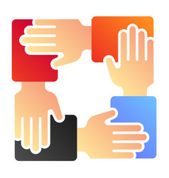 Collaboration flat icon hands community color vector