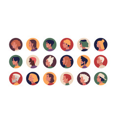 collection round profile portraits young vector image