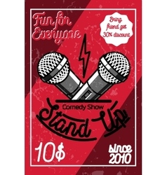 Color vintage Stand up comedy show poster vector image