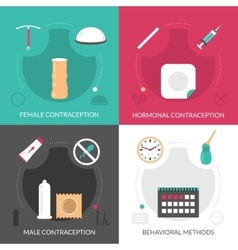 Contraception Concept Icons Set vector