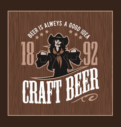 Craft beer and girl logo vector