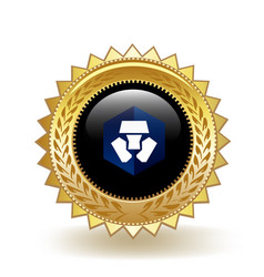 Crypto com cryptocurrency coin gold badge vector