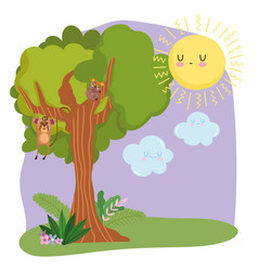 cute animals monkey hanging branch tree grass vector image