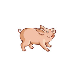 cute baby pig side view cartoon vector image