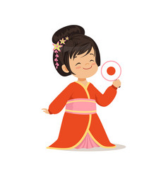Cute girl wearing red kimono national costume of vector