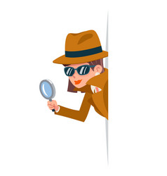 cute woman snoop detective magnifying glass tec vector image