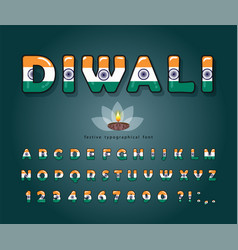 diwali cartoon font indian national flag colors vector image