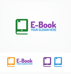 e-book logo set isolated on white background vector image