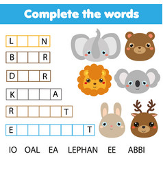 educational children game complete the words kids vector image