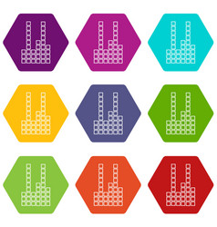 equalizer icons set 9 vector image
