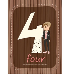 Flashcard number 4 with number and word vector