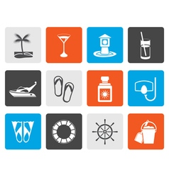 Flat Sea marine and holiday icons vector image vector image