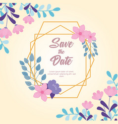 flowers wedding save date floral frame vector image
