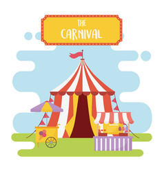 Fun fair carnival tent booth food snacks vector