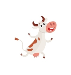 Funny brown and white spotted cow running on hind vector image