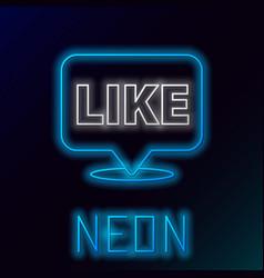 Glowing neon line like in speech bubble icon vector