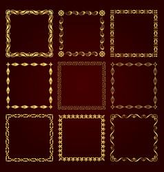 golden decorative retro frames vector image