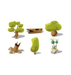 green trees stumps fantastic plant user vector image