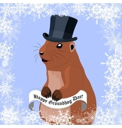 groundhog day greeting card with cute marmot vector image