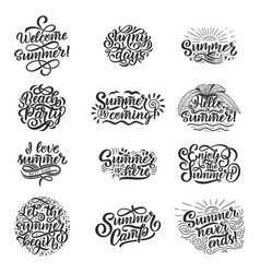 Hand drawn set with lettering about summer vector