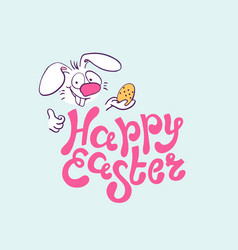 happy easter colorful lettering with funny rabbit vector image