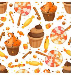 happy halloween sweet seamless pattern trick vector image