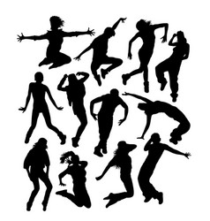Happy hip hop dancer activity silhouettes vector