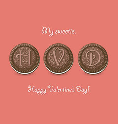 Happy valentine day chocolate cookies vector
